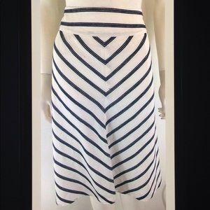 Talbots Linen Blend Chevron Stripe A Line Skirt